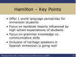 hamilton key points