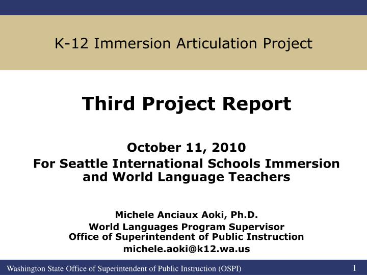k 12 immersion articulation project n.