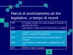 marcia di avvicinamento ed iter legislativo a tempo di record