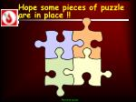 hope some pieces of puzzle are in place