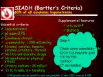 siadh bartter s criteria 60 of all euvolemic hyponatremia