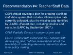 recommendation 4 teacher staff data