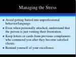 managing the stress