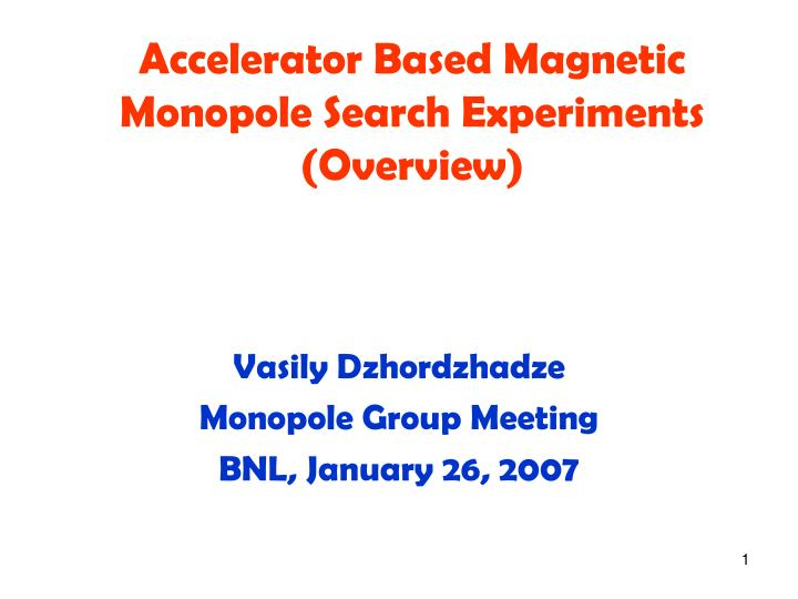 Accelerator based magnetic monopole search experiments overview