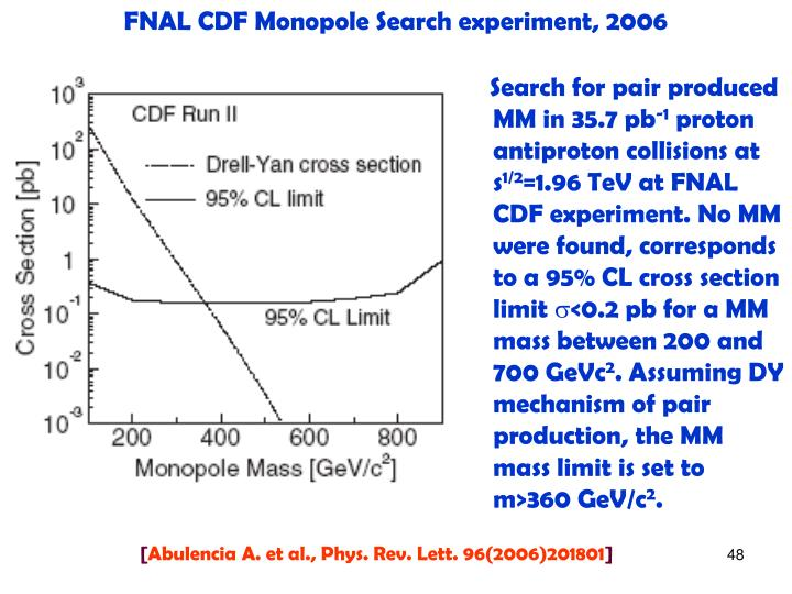 FNAL CDF Monopole Search experiment, 2006
