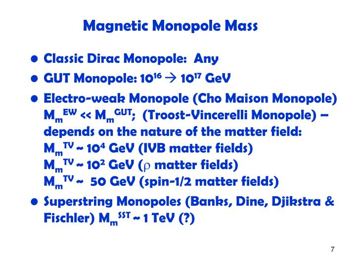 Magnetic Monopole Mass