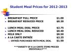 student meal prices for 2012 2013