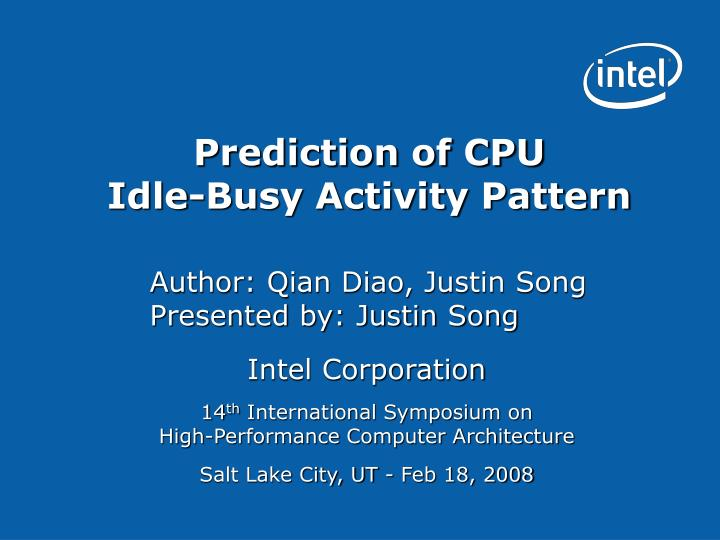 prediction of cpu idle busy activity pattern n.