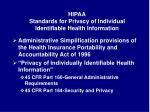 hipaa standards for privacy of individual identifiable health information
