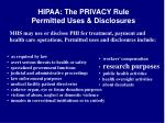 hipaa the privacy rule permitted uses disclosures