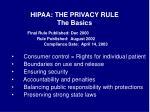hipaa the privacy rule the basics