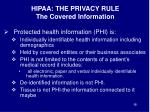 hipaa the privacy rule the covered information