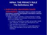 hipaa the privacy rule the definitions iihi