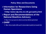 policy sites and documents