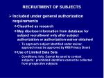 recruitment of subjects