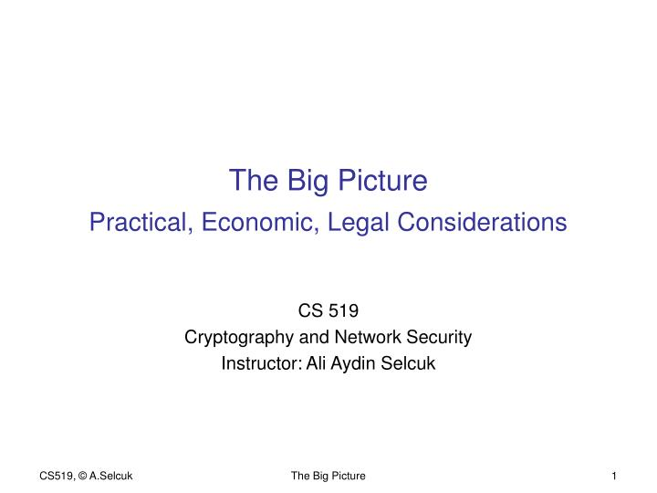 the big picture practical economic legal considerations n.