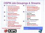 ospm job groupings streams