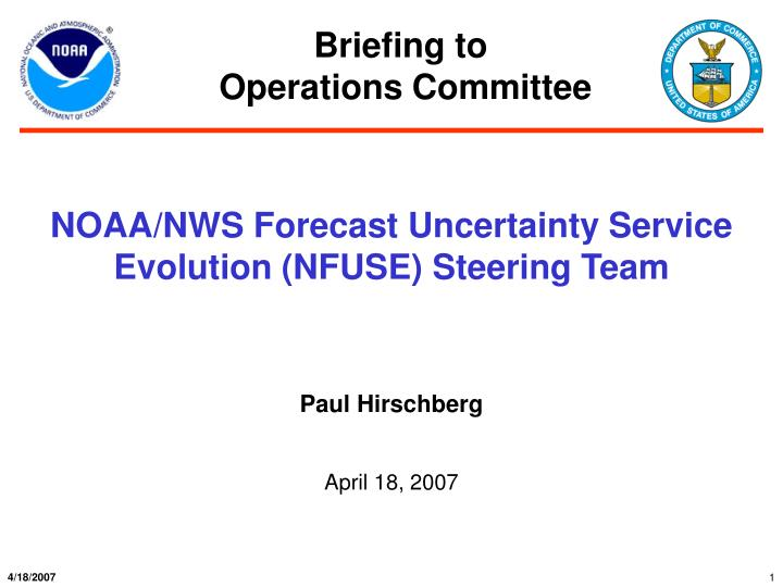 noaa nws forecast uncertainty service evolution nfuse steering team n.