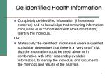 de identified health information