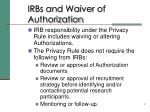 irbs and waiver of authorization