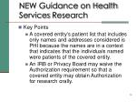 new guidance on health services research