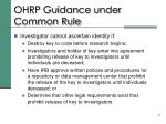 ohrp guidance under common rule