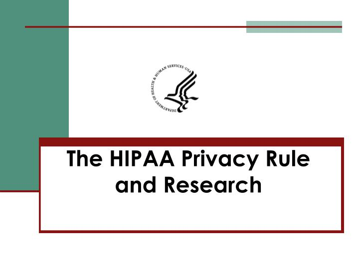 the hipaa privacy rule and research n.