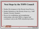 next steps by the tops council