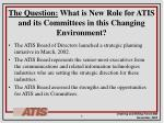 the question what is new role for atis and its committees in this changing environment