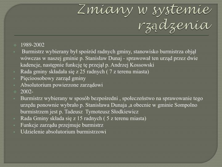 Zmiany w systemie rządzenia