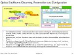 optical backbone discovery reservation and configuration