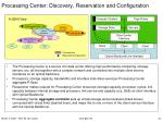 processing center discovery reservation and configuration