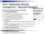alm application lifecycle management microsoft research