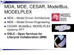 mda mde cesar modelbus modelplex