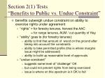 section 2 1 tests benefits to public vs undue constraint