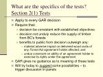 what are the specifics of the tests section 2 1 tests