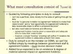 what must consultation consist of cont d1