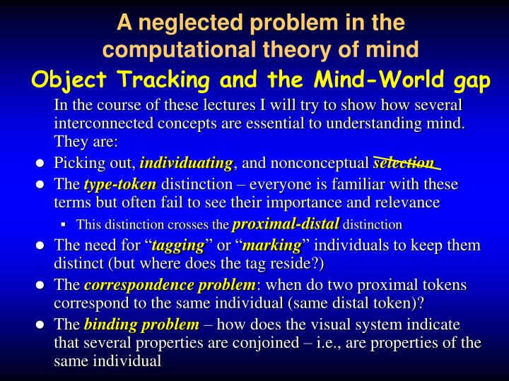 a neglected problem in the computational theory of mind object tracking and the mind world gap n.