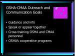 osha cmaa outreach and communication goals