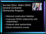 success story idaho osha general contractor partnership program