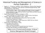 historical funding and management of science in human exploration 2
