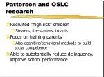 patterson and oslc research