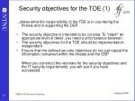 security objectives for the toe 1