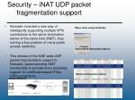 security inat udp packet fragmentation support