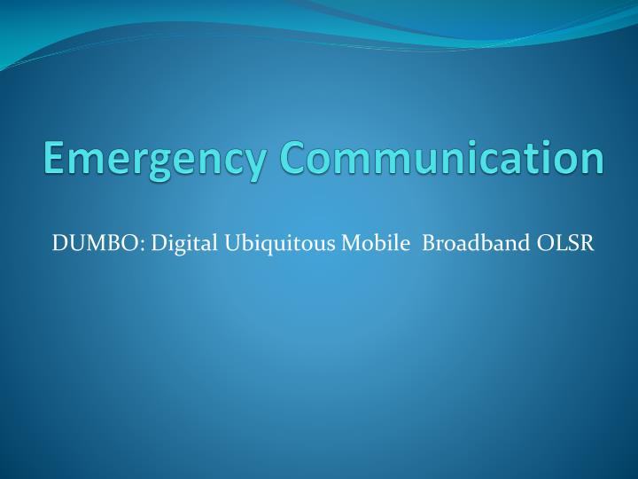 emergency communication n.