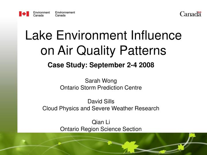 lake environment influence on air quality patterns n.