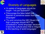 diversity of languages