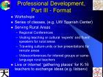 professional development part iii format