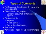 types of comments
