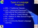 types of language programs